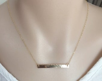 14K Gold Filled Long Hammered Bar Necklace, Sterling Silver Bar, Minimalist Necklace, Rose Gold Bar, Bridesmaid Necklace, Layering Necklace