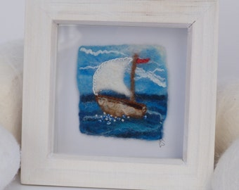 Small Brown Yacht Felt Painting