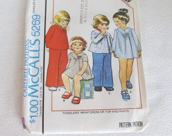 Vintage 1976 Sewing Pattern McCall's 5269 / Young Toddler Girls 70's Wrap Dress Top and Pants Sew Pattern