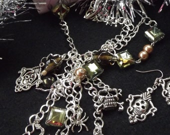 Gothic Skull and Spider  Long Necklace