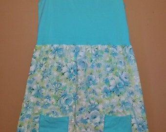 Upcycled Pillowcase Dress, Aqua Floral Sundress, Summer Dress, Repurposed dress
