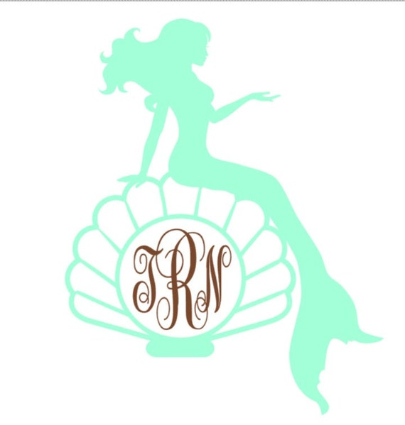 Custom Mermaid Monogram Decal Monogram Vinyl Decal - Mermaid custom vinyl decals for car