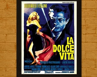 BUY 3 GET 1 FREE La Dolce Vita Poster 1960 - Frederico Fellini Movie Retro Movie Poster Wall Decor Poster Old Movie Print Iconic
