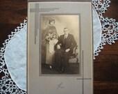 Vintage 1920's Wedding Photograph, Older Couple, Art Deco Photo Frame, Roaring Twenties Fashion, Floral Bouquet, Great Collector Piece ~