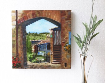 Italy wall art Italy painting Small landscape painting Italian landscape Tuscany painting Tuscany countryside art Signed art Ready to hang