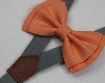 Orange linen  bowties,BOWTIE SUSPENDER SET,grey suspenders,infant bowties,toddler bowtie,boy bowtie,men bowties,wedding bowtie