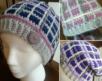 Plaid Slouchy Beanie/ Hat, Made-to-Order Crochet