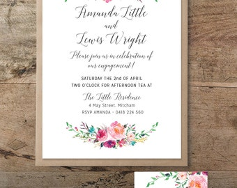 Romantic Ethereal invitation and save the date card, engagement, printable invitation, rustic, bohemian engagement invitation