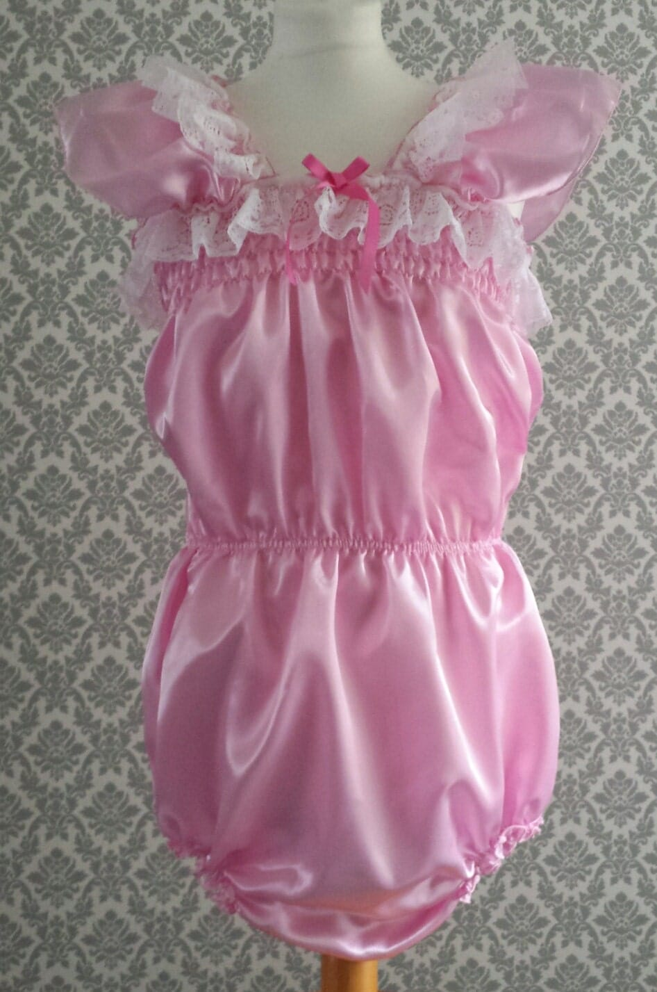 All Sizes 34 Gbp Adult Baby Sissy Satin Lacey Nappy Cover