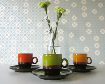 Three Vintage Ceramic Cup and Saucers in Yellow, Red and Green Glaze70s 16245