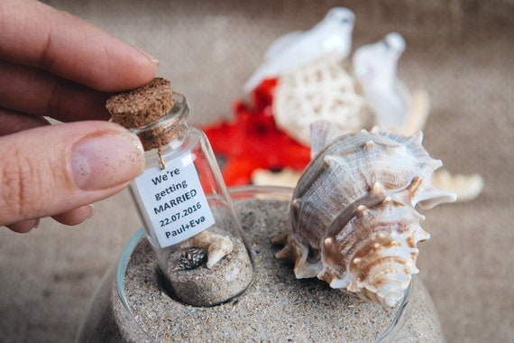 Beach Nautical wedding Invitation in a bottle
