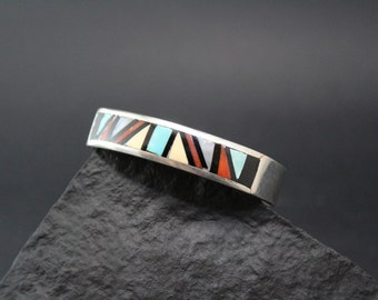 Native American Sterling Silver Zuni Inlay Cuff Bracelet