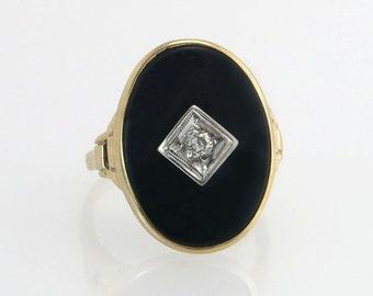 Antique Vintage Estate 10K Yellow Gold Genuine Diamond & Black Onyx Art Deco Ring 3.8g
