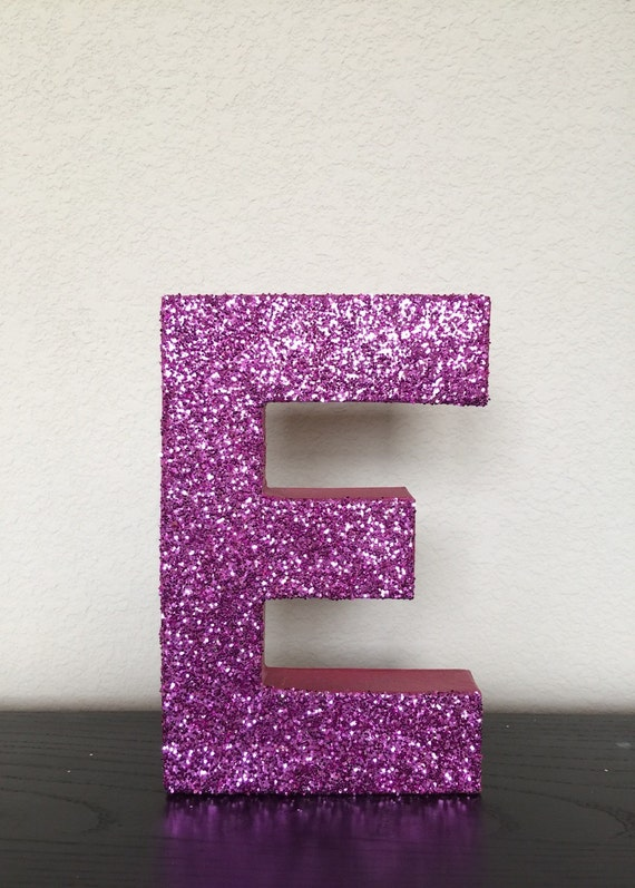 Pink Glitter Stand Up Letter Initial Monogram by ZoeyElisa