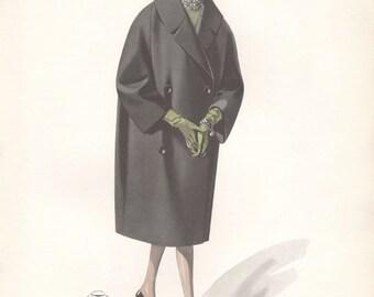 Original European 1960s fashion illustration