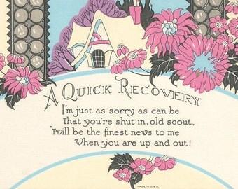 Vintage Get Well Card Digital Download Clip Art 300dpi