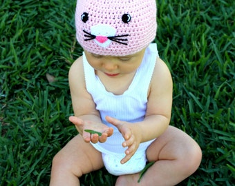 Bunny beanie: Handmade, crocheted bunny rabbit beanie/skull cap for babies in pink