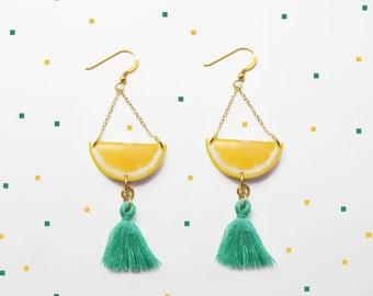 Lemon drop Earrings Fruit earrings dangle earrings Fruit dangle earrings Lemon dangle earrings Gift for Her