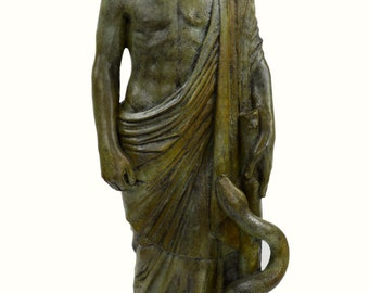 Asclepius Great bronze statue Ancient Greek God of medicine artifact