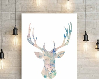Deer Head Silhouette Poster A3 / A2 Watercolor water colour Poster / Wall Art / Modern animal print