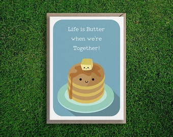 Greeting Cards | Butter Together Card Anniversary Friendship Love Appreciation Boyfriend Girlfriend Cute & Quirky Pancake Maple Syrup Butter