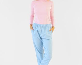 High Waisted Linen Trousers. Womens Elastic Waist Blue Linen Cropped Trousers.