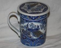 Japanese Tea Mug, Golden Peacock Tea Mug, Blue Peacock Tea Mug, Tea Mug with Top, Japanese Peacock Tea Mug, Golden Peacock Tea Mug