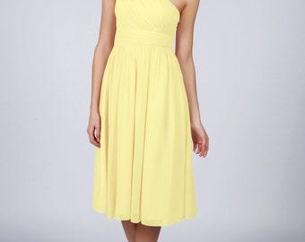 Lemon One Shoulder Short Bridesmaid Dress by Matchimony