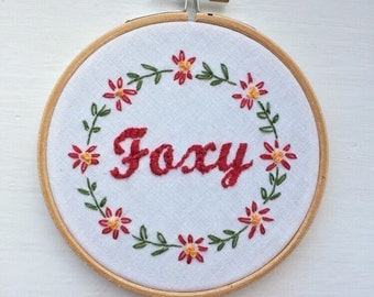 Fox Embroidery - Flower Wreath Embroidery Font - Needlepoint Wall Hanging - Foxy Custom Wall Art - Floral Wreath Art - Floral Hoop Art