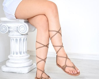 Stylish Gladiator Strappy Women Sandals, Light Brown Color, Nubuck, Handmade By Sparta Sandals, High Quality, Genuine Leather