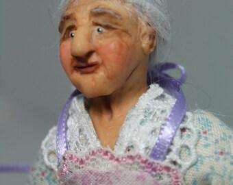 OOAK miniature 1/12th scale dollhouse doll older woman farm woman grandma Sassy Senior Citizen