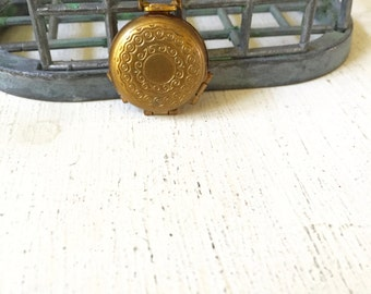 Vintage Four Photo Locket, Vintage Pocket Style Keepsake Holder, Brass Locket Pendant