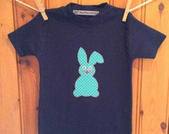 Easter rabbit Tshirt, girls bunny t shirt, Easter bunny, appliqué t shirt, girls Easter t shirt, Easter present/gift by Yew Tree Stitches