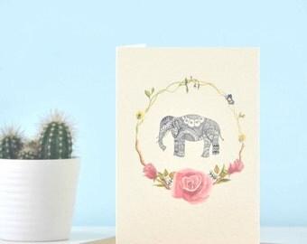 Floral Elephant eco friendly illustration greetings card - Perfect for elephant lover, elephant art, elephant gift, yoga card, yogi card