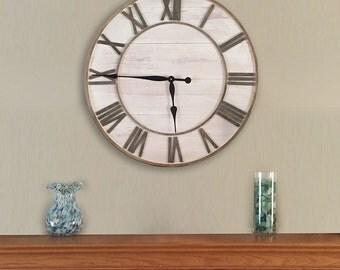 "Large Round Rustic Wall Clock, 26"" Shabby Chic Clock, Beach house clock, farmhouse clock, Nautical Theme, Lake House Clock, Oversized Clock."