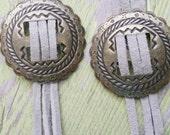 Concho Earrings, Tassel Earrings, Cowgirl Earrings, Blue Suede Earrings, Southwestern Jewelry, Suede Dangle Earrings, Concho Suede Jewelry,