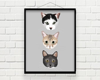 THREE-IN-ONE Custom Pet Portrait | Digital File | Print at Home | Pet Gift | Made to Order