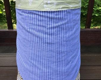 Blue Stripe and Green Floral. Half Apron. Cafe Apron. Upcycled Men's Shirt Half Apron.