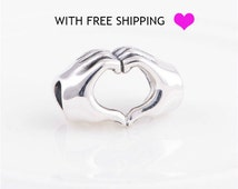 sterling silver love in hands charm beads fits authentic Pandora charms and European bracelet love in hands charm jewels