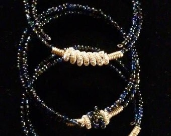 Blue memory wire beaded bracelet set of 3