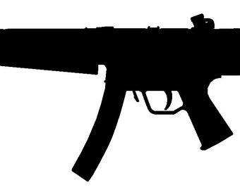"MP5 silhouette gun sticker, no background.  About 9"" wide, support the second amendment anywhere."