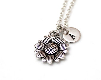 Sunflower Necklace, Sunflower Silver Plated Necklace, Tiny Silver Necklace, Personalized Silver Disc, Monogram Charms, Silver Personalized