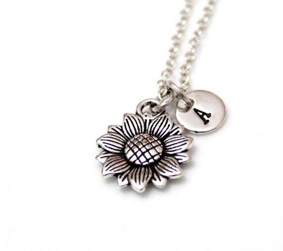 Sunflower Necklace Sunflower Silver Plated Necklace Tiny