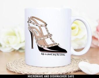 Coffee Mug Life is Short Buy The Shoes Coffee Mug - Funny Stiletto Shoe Quote Mug