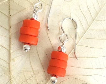 Orange glass earrings, silver filled ear wires,  silver plated accent beads. Summer earrings.  Spring. Cultured sea glass. Orange dangles.