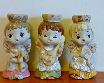 Angel Candle Holder Set Mid Century Vintage Lorrie Designs