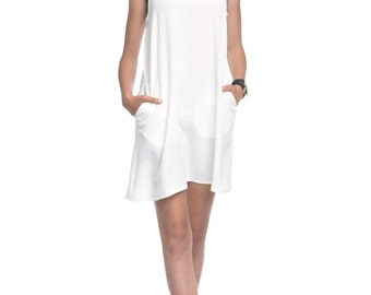 White tank Dress, Sleeveless Dress, Summer Dress with pockets - Marian
