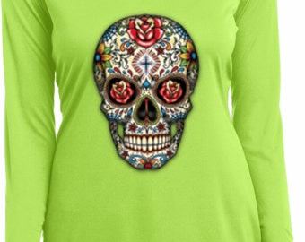 Ladies Skull Shirt Sugar Skull with Roses Moisture Wicking V-neck Long Sleeve Tee T-Shirt WS-16553-LST353LS