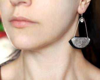 Abstract earrings Contemporary jewelry Modern earrings Statement jewelry Party long earrings Black and silver earrings Abstract jewelry gift