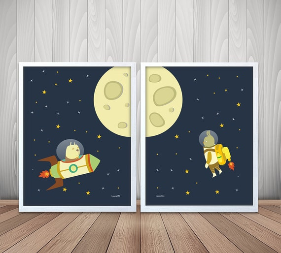 Nursery Space Print Outer Space Kids Room Decor By